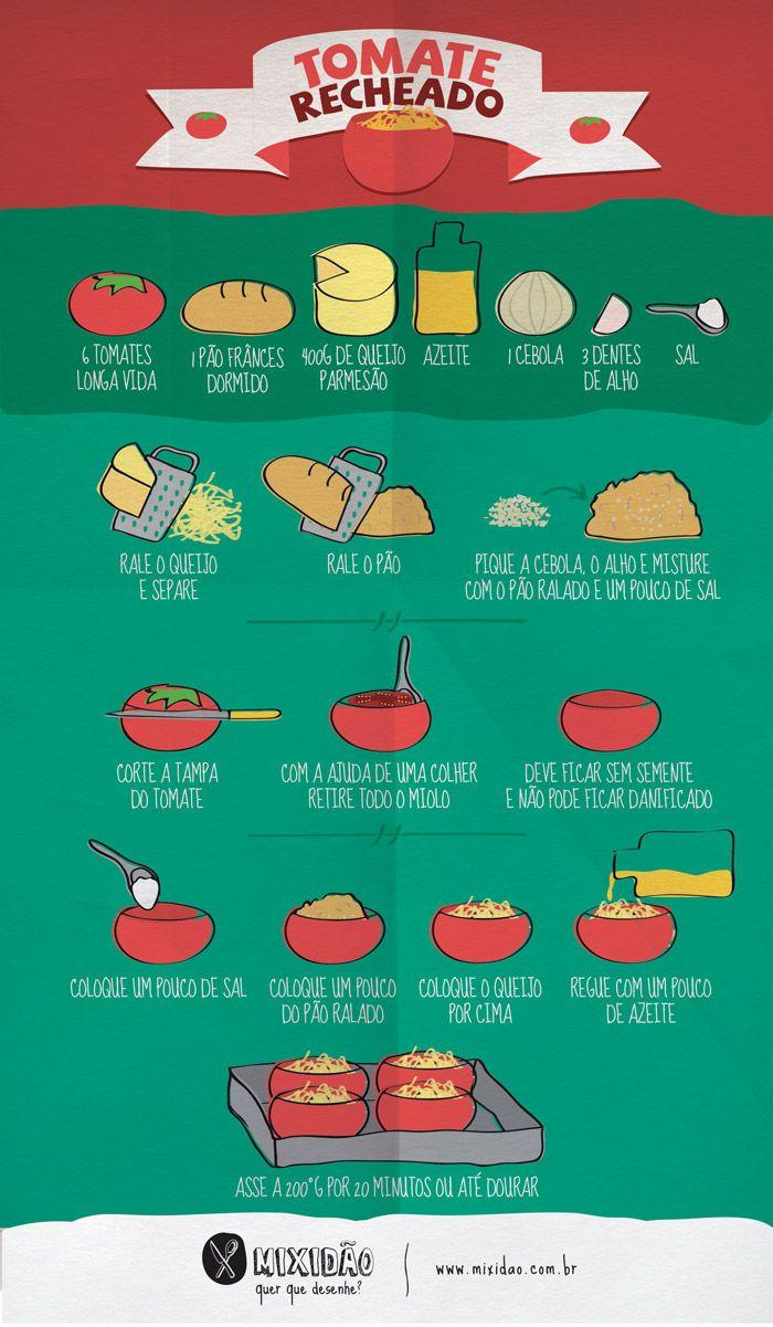Receita-ilustrada de Tomate recheado - Mixido