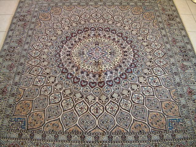 Nain Persian rug; All Persian Rugs are genuine handmade. Also, every Persian Nain rug I offer is made with fine kurkwool/silk.
