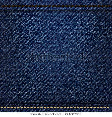Denim jeans texture with strings and seams. Vector illustration
