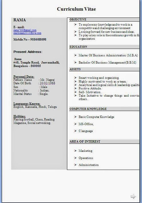curriculum vitae format in ms word Beautiful Excellent - resume formats for freshers download