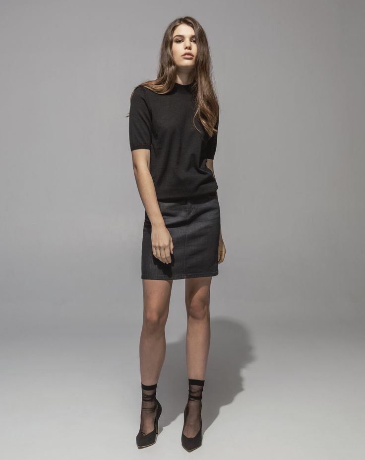 Mercerized Wool Cashmere Peggy Pocket Tee (Black) 5 Pocket Stretch Denim Skirt (Soft Charcoal)