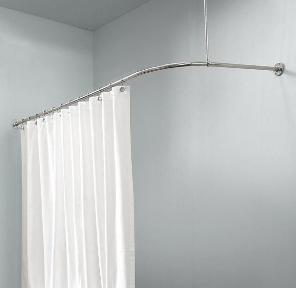 Rest Hardware Shower Curtain Rack For Tub That Bolts Into Wall And Ceiling Bolts Ceiling Curtain Hardware Rack Shower Curtain Rods Curtains Curtain Rods