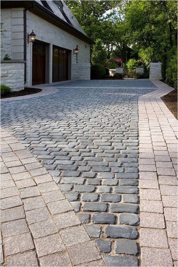 Concrete paver cobble driveway with granite paver banding