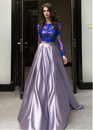 Chic Tulle & Satin Jewel Neckline A-Line Two-piece Prom Dress With Lace Appliques