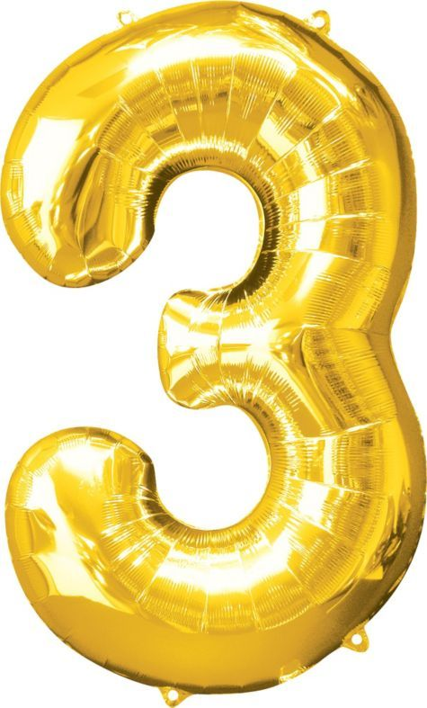 Number 3 Metallic Gold Foil Balloon 34in