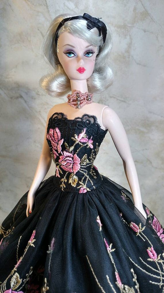 """Fuschia Foliage"" fits Silkstone Barbie (shown) by GinOCouture 