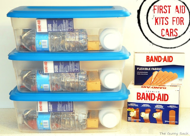 Then, I assembled the kits. Water Bottle, Granola Bars, Neosporin, Ibuprofen, Hand Sanitizing, Wipes, Gauze, Allergy medicine, Itch Relief Stick, Band-Aids