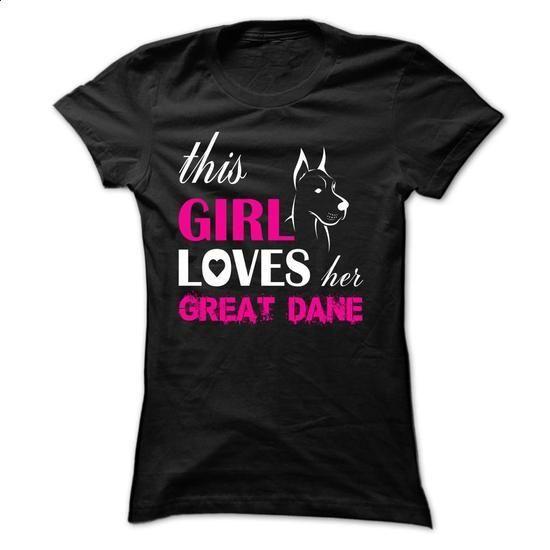This Girl Loves Her Great Dane - NZ3 - #tee shirts #harvard sweatshirt. ORDER HERE => https://www.sunfrog.com/Pets/This-Girl-Loves-Her-Great-Dane--NZ3-Black-y35z-Ladies.html?60505