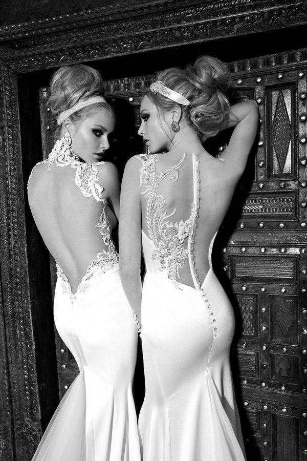 "9 Sexy Backless Wedding Dresses and Gowns for 2013 | Confetti Daydreams - Galia Lahav's Backless gowns (left) ""Angelina""  silk satin sheer gown and (right) ""Nicole"" Silk dress with embroidered tulle top and sleeves ♥ #backless #gowns #dresses #wedding"