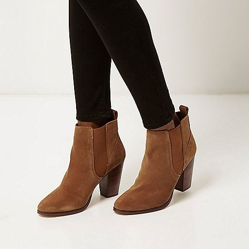 Tan suede heeled ankle boots - ankle boots - shoes / boots - women