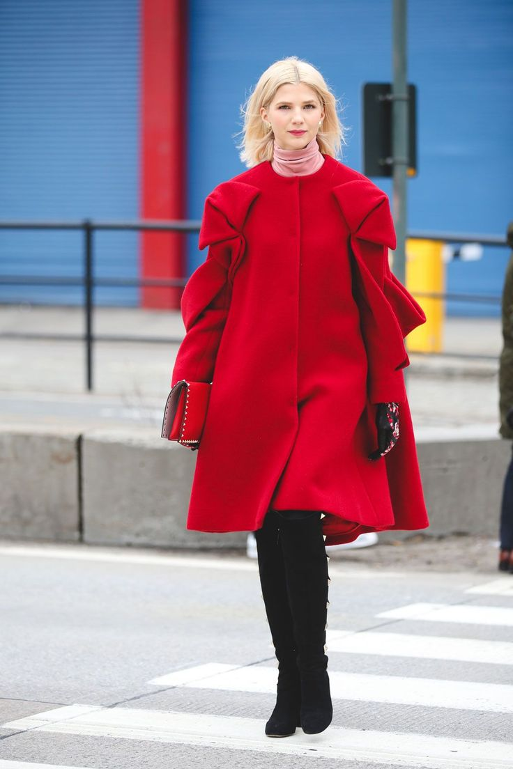 Lessons In Layering From The Streets Of New York City #refinery29  http://www.refinery29.com/2016/02/103173/ny-fashion-week-fall-winter-2016-street-style-pictures#slide-3  With candy red and light pink, this look is a walking Valentine....