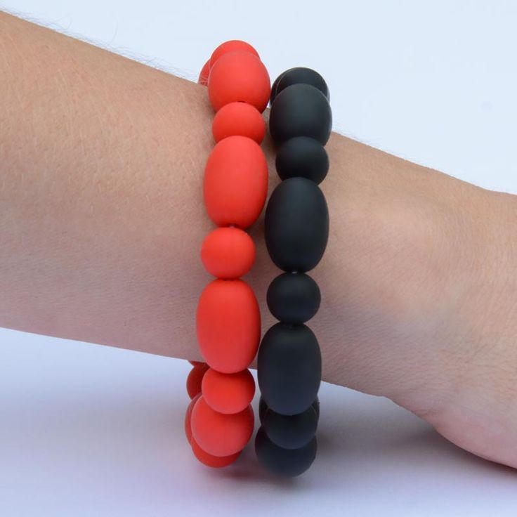 Ferrari Duo. The black and red Ferrari teething bracelets are one of our favourites. They go well with any black number, or any clothing where you want black to be the emphasis, while pushing the red just a little.