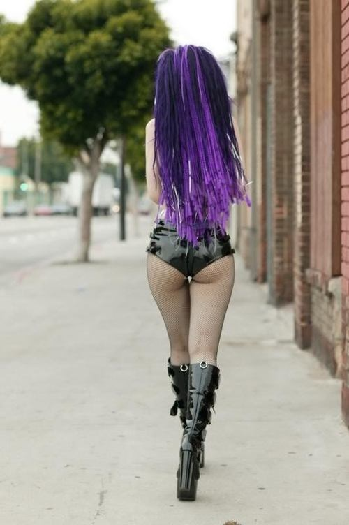 oh yeah sure i'd wear dem shorts... i think one arse cheek would fit hahaha... love the purple hair for real