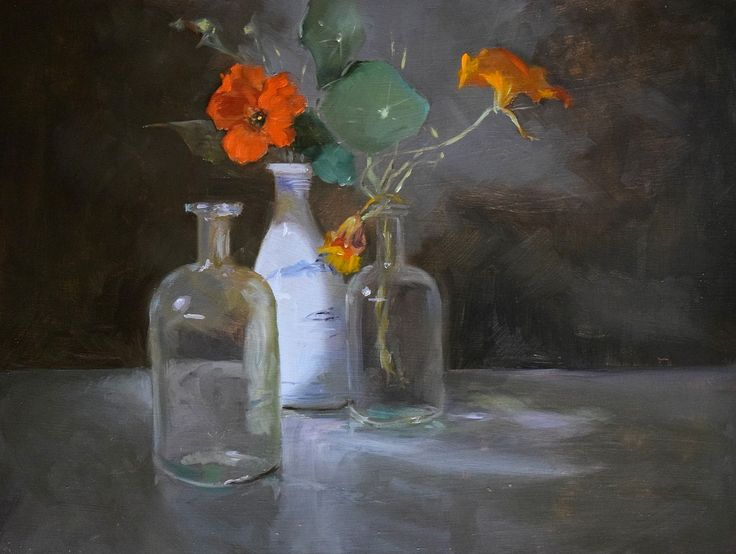 """Nasturtiums"". A further painting exploring the effect of cool light. Donald Burrow. 2014, Oil on panel."