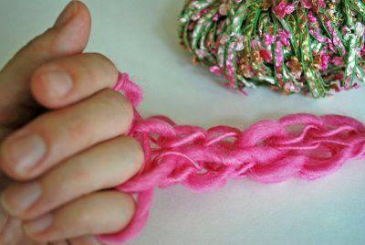 Finger knitting #fingerknitting #knitting