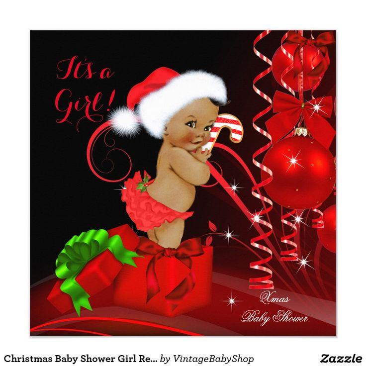Christmas Baby Shower Girl Red Black Ethnic Invitation