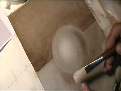 Pittura ad olio, tecnica della grisaglia a sfregazzo (5) - YouTube