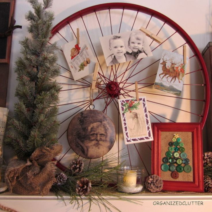 Bike rim spray painted red with photos and vintage Christmas postcards.  My framed button tree.