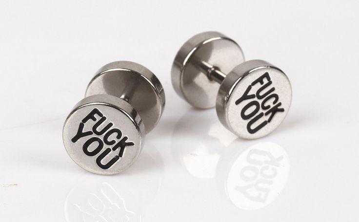 Rebel Punk Style Dumbbell Steel Earring