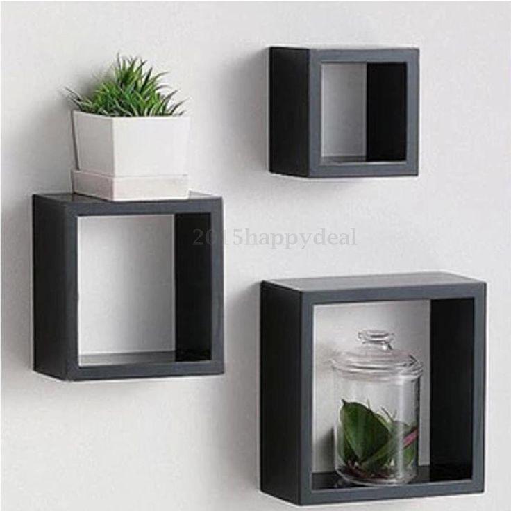 Set of 3 Black Retro Floating Cube Shelf Square Shelves Storage Wall Mounted Box