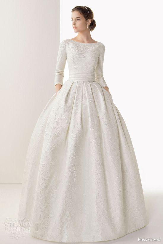 So simple yet so perfect! rosa clara 2014 bridal caceres silk brocade ball gown wedding dress