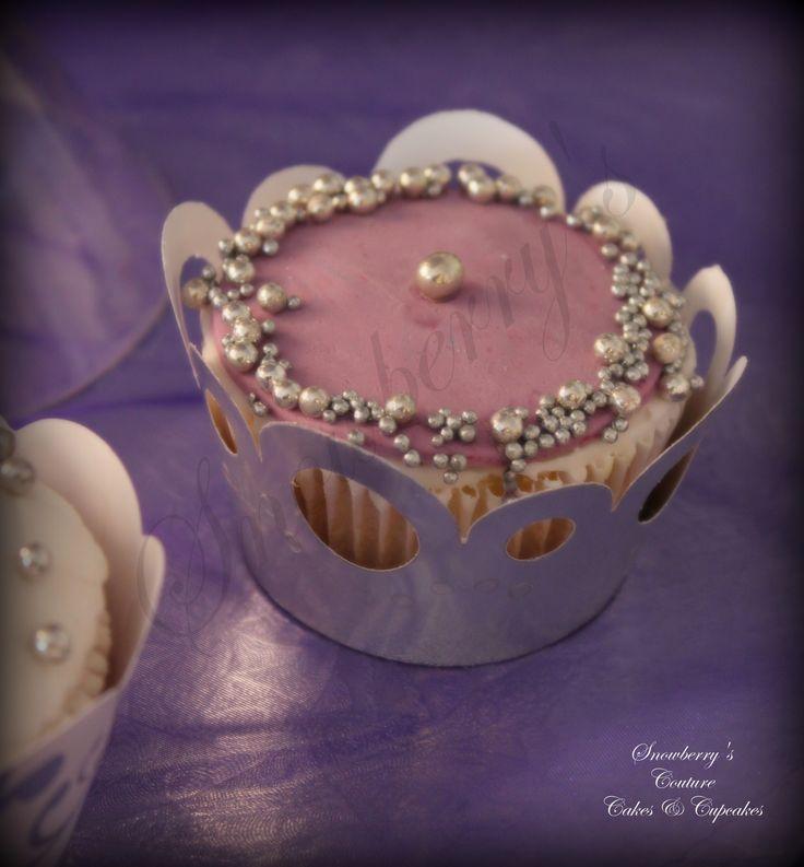 Purple and silver wedding cupcake