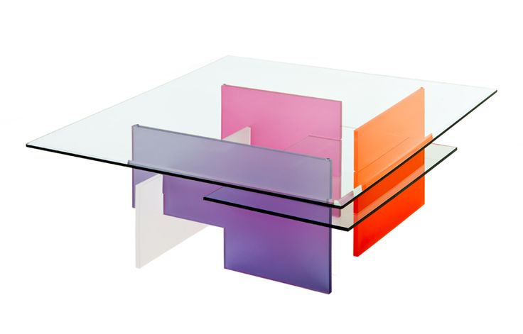 Table Basse RIETVELD en verre trempé et plexi multicolore