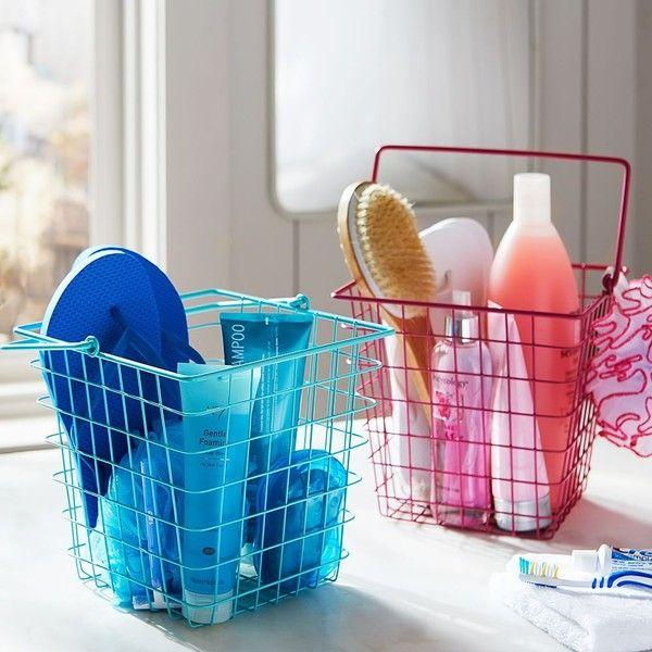 PB Teen Coated Wire Shower Caddy, Pool at Pottery Barn Teen - Dorm... ($13) ❤ liked on Polyvore featuring home, bed & bath, bath, bath accessories, pbteen, wire caddy, wire shower basket and wire shower caddy