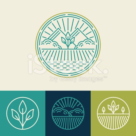 Vector agriculture and organic farm line logos royalty-free stock vector art