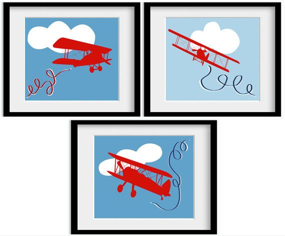 Blue Red Themed Airplane Plane Aeroplane Art Bi by babydeliciousuk