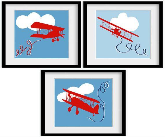 Blue Red Themed Airplane Plane Aeroplane Art Bi by babydeliciousuk, $24.95