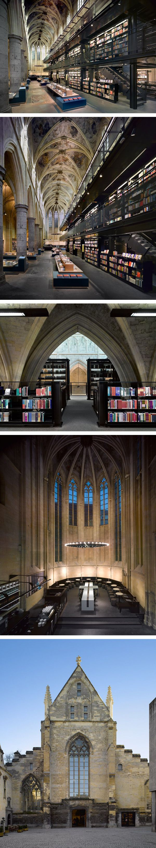 Selexyz Dominicaner Bookstore, Maastricht, Netherlands. Merkx+Girod Architecten. In Maastricht, the location demanded a completely different approach; the development of 1200m2 shopping space in an available area of 750m2 floor space. The solution is a multi-level, monumental, black, walk-in bookcase situated asymmetrically in the church. The project won the 2007 Lensvelt de Architect interior design award.