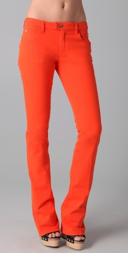 I L <3 V E skinny flares! Tight all the way to mid-calf and then flares out (: plus the orange color is amazing.