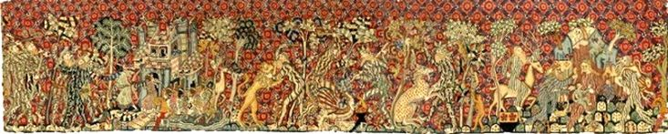German tapestry, c. 1400 depicting Black soldiers defending a Black King and Queen (in the windows) from attacking White men, Called by Whites *Wild men and Moors*