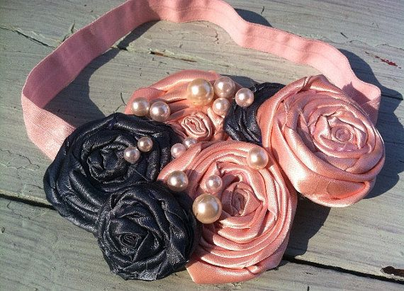 Peach and Teal Satin Fabric Flowers, Satin Flower Rolled Rosettes, Headbands, Girls, Weddings, Flower Girls on Etsy, $27.00