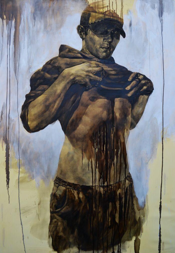 Sofian Albert, 107x155, desen in smoala si pastel uleios pe panza tratata manual, 2010