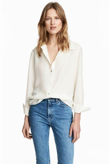 Szeroka bluzka jedwabna - Naturalna biel - ONA | H&M PL 1