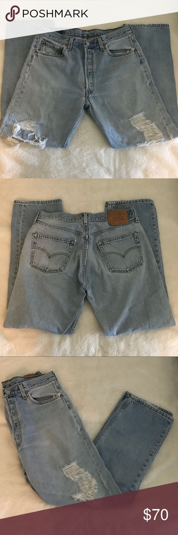 Vintage Levi 501 High Waisted Jeans Vintage Levi 501 high waisted ripped jeans. Size W 34 L 30. Light wash. Great condition.  Ladies you can use them as boyfriend jeans fits amazing 😉 Levi's Jeans Relaxed