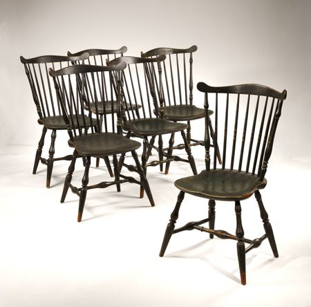 Attributed To James Chapman Tuttle Matched Set Of Six Painted Fan Back  Windsor Side Chairs
