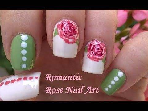 Romantic Vintage Rose Nail Art - Toothpick & Dotting Tool Floral Nails Design - YouTube