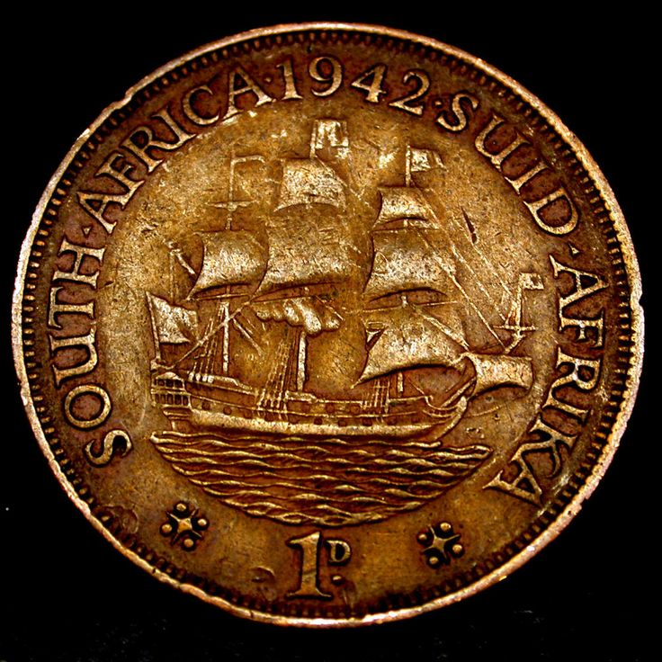 1942 South Africa 1 Cent TALL SHIP Coin in GREAT SHAPE!