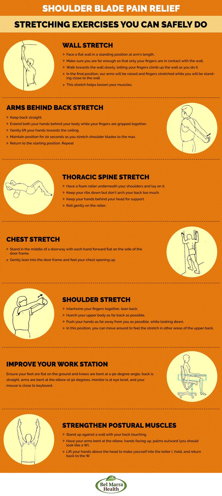 Stretches for Shoulder Blade Pain Related Reading: Pinched nerve in shoulder blade: Causes, symptoms, treatments, and exercises A pinched nerve in a shoulder blade is a common, but temporary condition that can be very painful and cause a lot of discomfort. A pinched nerve happens when too much pressure is applied to the tissue surrounding …