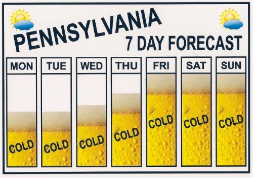 "Funny ""BEER"" Refrigerator Magnet. ""PENNSYLVANIA"" ""SEVEN DAY WEATHER FORECAST"" ""FREE SHIPPING ON THIS ITEM"" This flexible magnet is available for quick shipping. Great Item."
