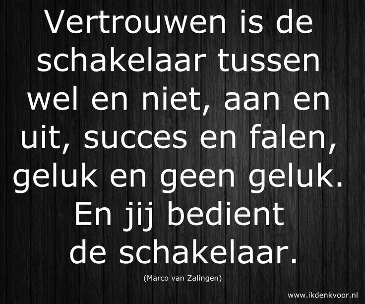 """Quote: """"Vertrouwen is de schakelaar tussen wel en niet, aan en uit, succes en falen, geluk en geen geluk. En jij bedient de schakelaar."""" (Marco van Zalingen) www.ikdenkvoor.nl"""