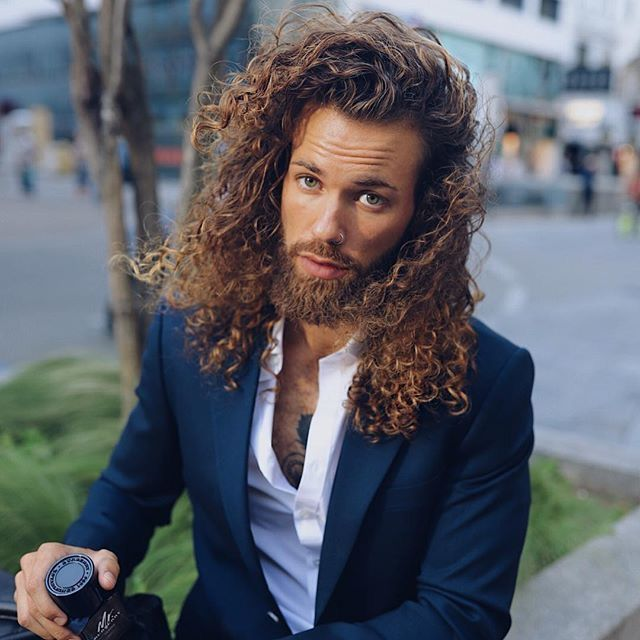 Pin By Gabby Rice On Faces To Draw Male Long Hair Beard Long Curly Haircuts Red Hair Men