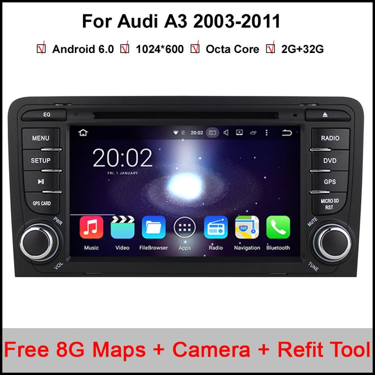 2 Din Pure android 6.0.1 Car DVD Player For Audi A3 S3 2002-2011 With Capacitive Screen Octa 8 Core Radio GPS 3G WiFi OBD DVR
