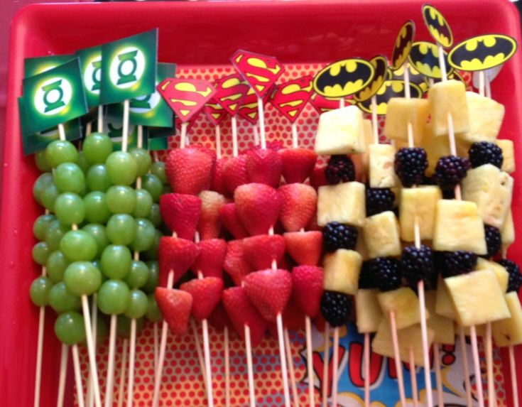 fruit kabobs--I ran out of time to put the fruit on the sticks, but having them in rows looked just as nice