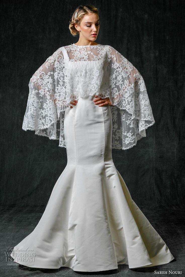 sareh nouri fall 2017 bridal sleeveless square neck simple clean design elegant mermaid wedding dress lace capelet sweep train (charlotte) mv