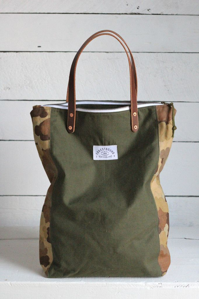 The Rambler Tote / WWII era Canvas & Cloud Camo