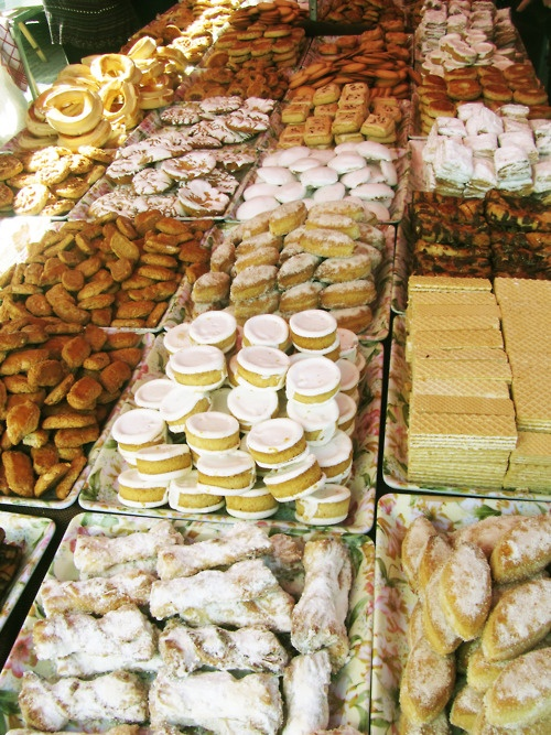 spanish pastries. artisan market in palencia, spain.
